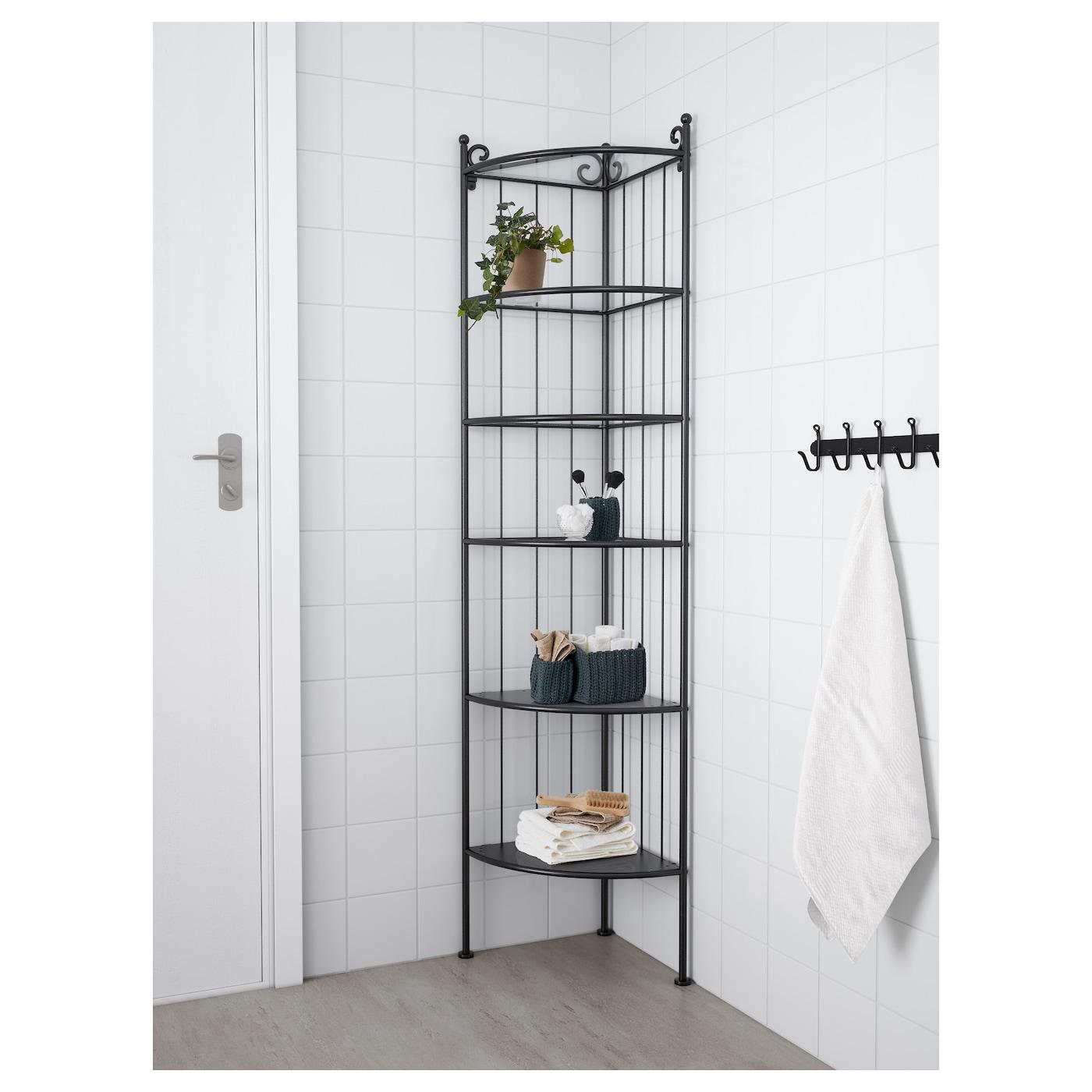 R nnsk r corner shelf unit black ikea for Bathroom shelves ikea