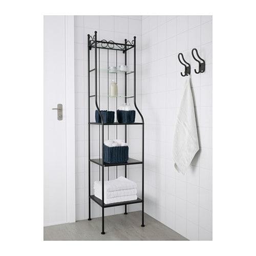 RÖNNSKÄR Shelving unit Black 42×176 cm  IKEA -> Ikea Wandregal Abbauen