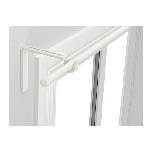 RÄCKA Curtain rod combination IKEA Curtain rod holder position can be adjusted, allowing curtains to be hung either close to the window or farther out.