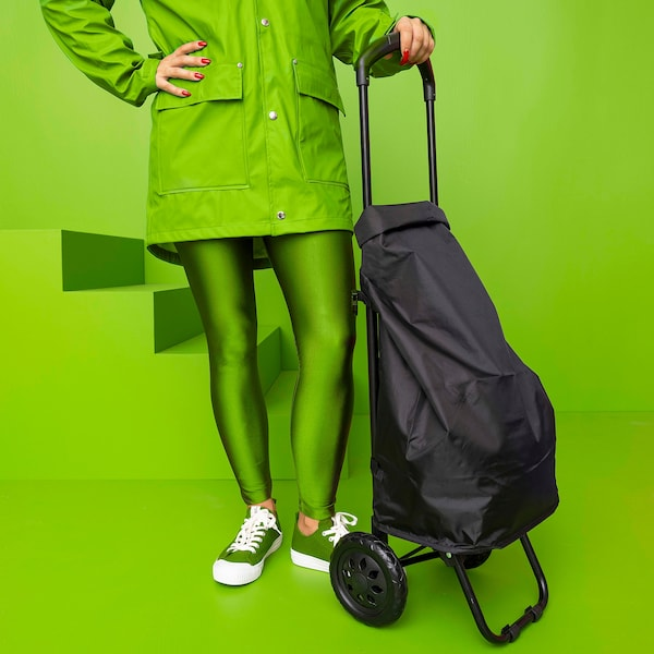 RADARBULLE Shopping bag on wheels, black, 33x24x68 cm/38 l