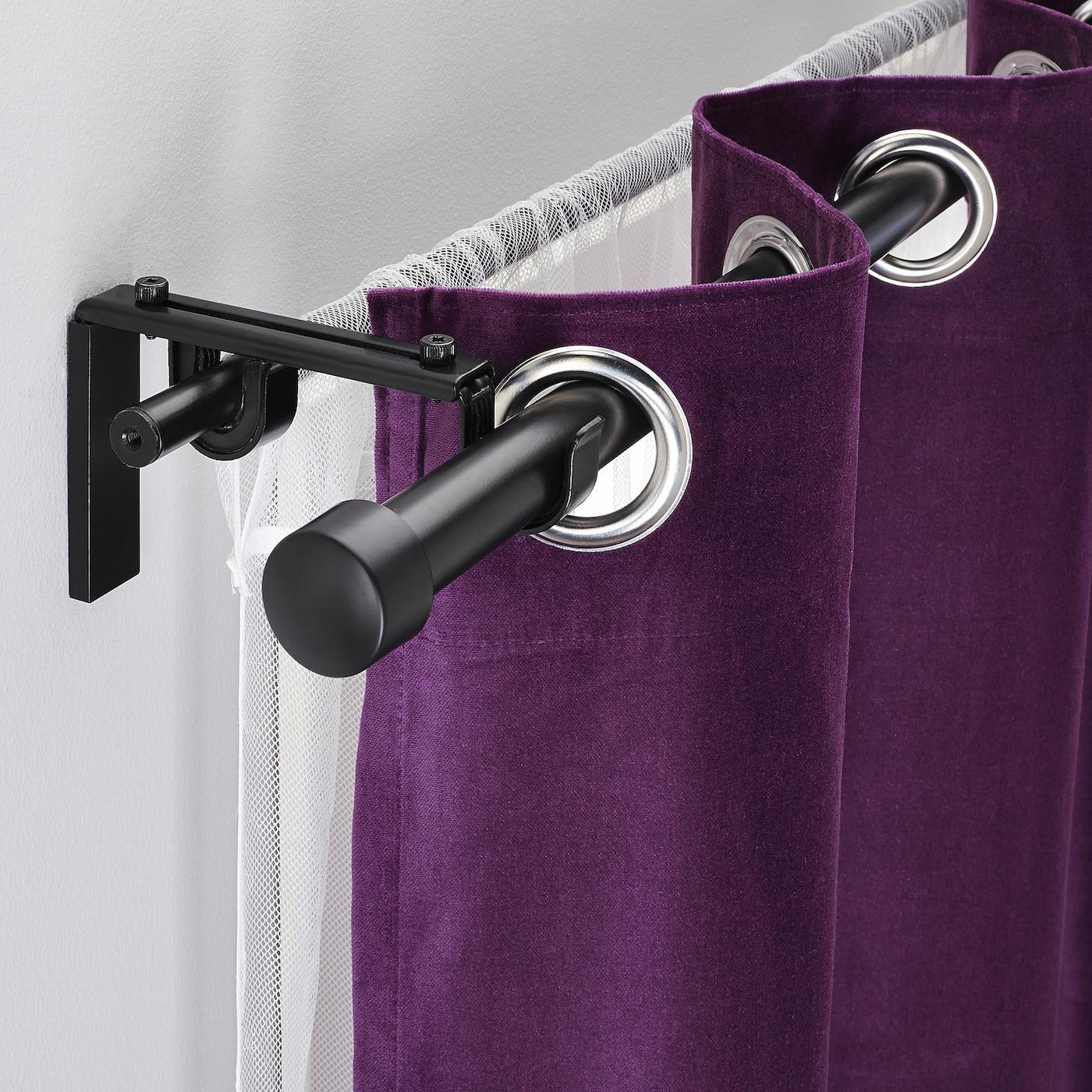 RÄCKA / HUGAD Double curtain rod combination - black 210-385 cm