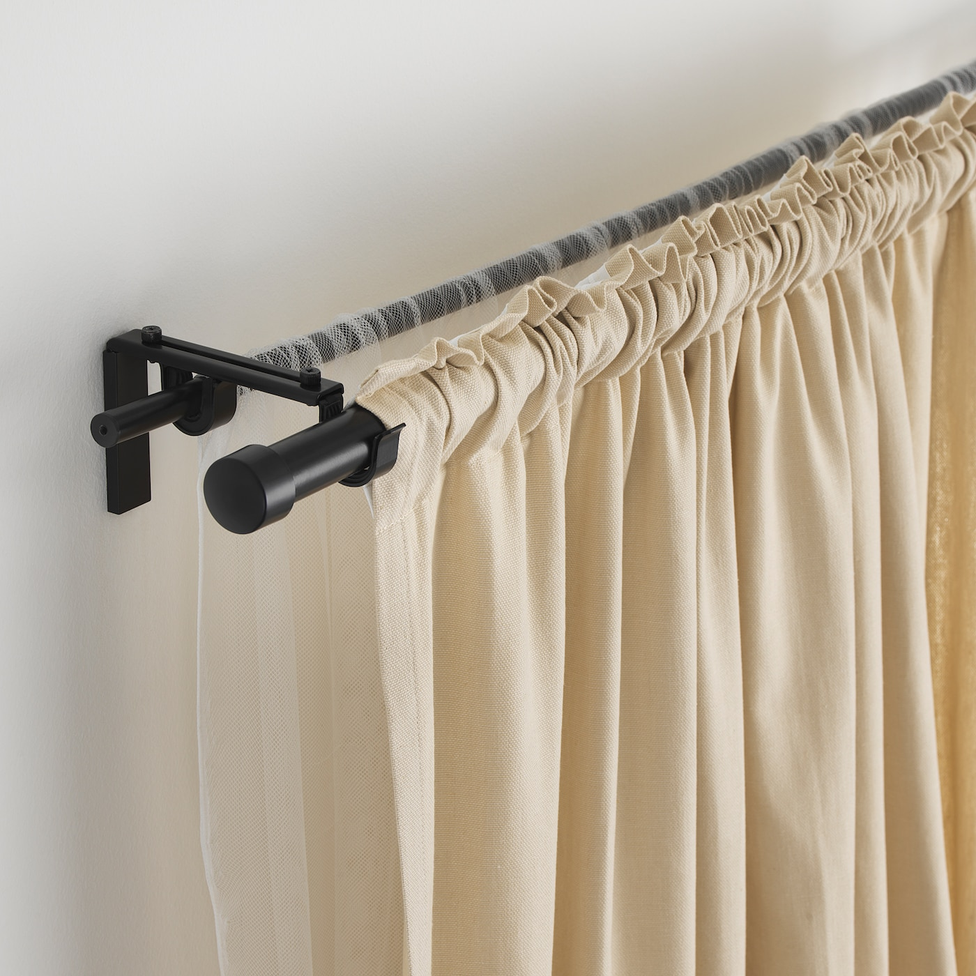 Racka Hugad Black Double Curtain Rod Combination Ikea