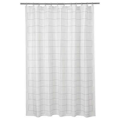 RÄLLSJÖN Shower curtain, white/grey, 180x180 cm