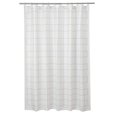 RÄLLSJÖN Shower curtain, white/grey, 180x180 cm