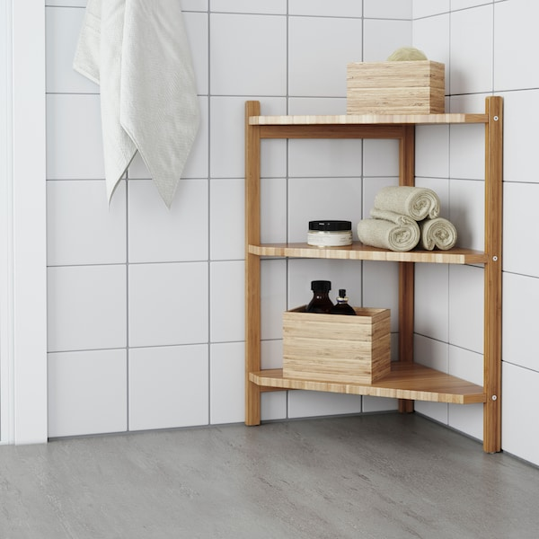 RÅGRUND Wash-basin/corner shelf, bamboo, 34x60 cm