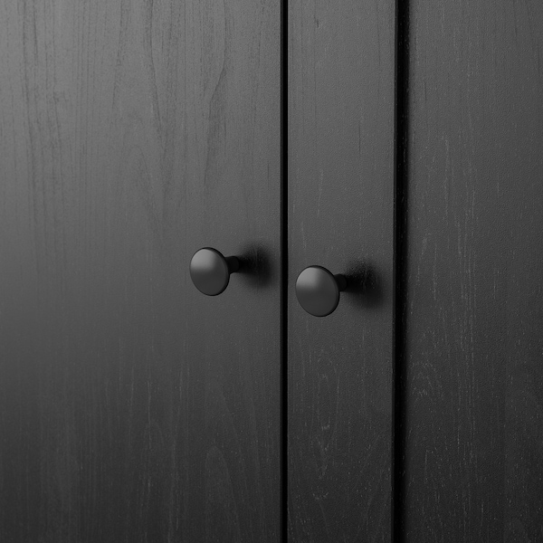 RAKKESTAD Wardrobe with 3 doors, black-brown, 117x176 cm