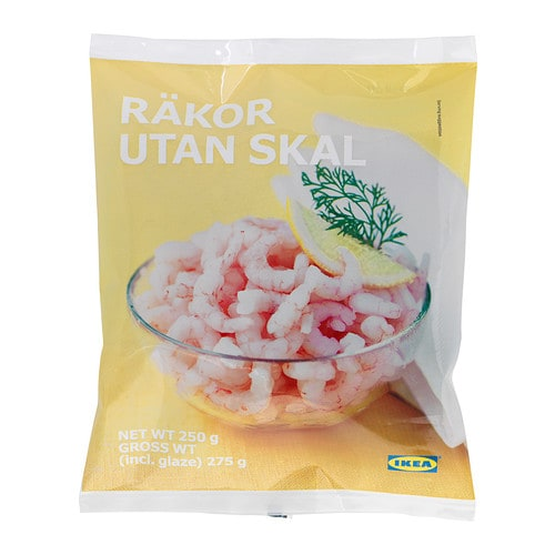 RÄKOR UTAN SKAL Peeled shrimps, frozen IKEA Shrimps are found in both fresh and salt water.   Serve on open sandwiches, or in baguettes, salads, etc.