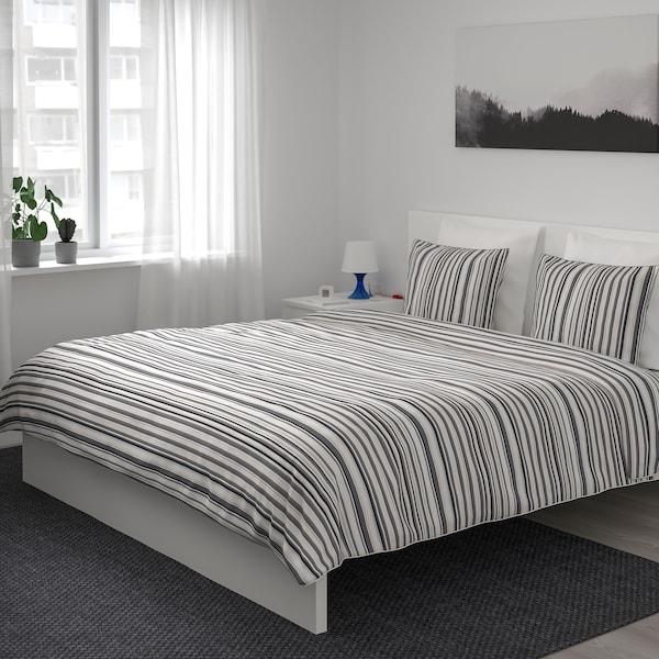 RANDGRÄS quilt cover and 2 pillowcases grey/stripe 200 /inch² 2 pack 200 cm 200 cm 50 cm 80 cm