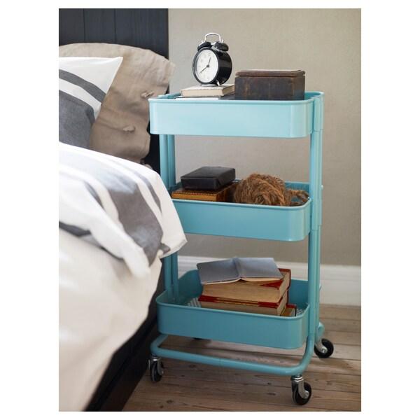 RÅSKOG Trolley, turquoise, 35x45x78 cm