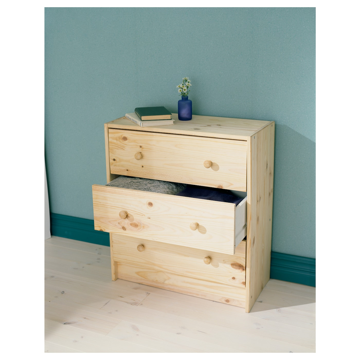 IKEA RAST chest of 3 drawers Made of solid wood, which is a hardwearing and warm natural material.