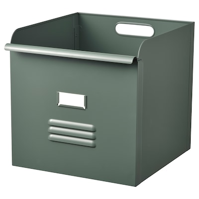 REJSA Box, grey-green/metal, 32x35x32 cm