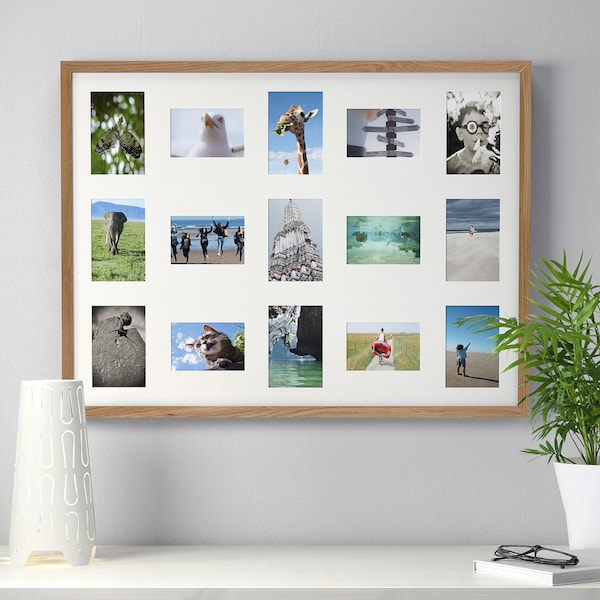 RIBBA frame for 15 pictures oak effect 62 cm 82 cm 60 cm 80 cm