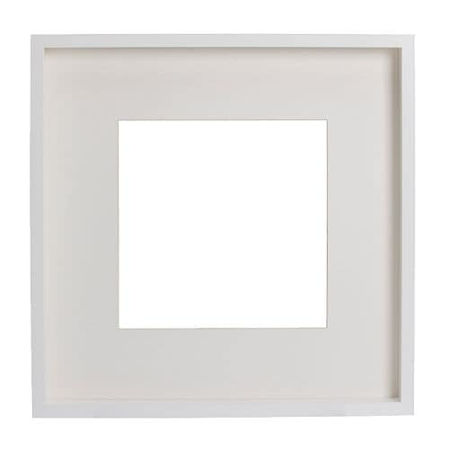 RIBBA Frame IKEA Extra deep frame; the motif can be placed at the front or back.  The mount enhances the picture and makes framing easy.