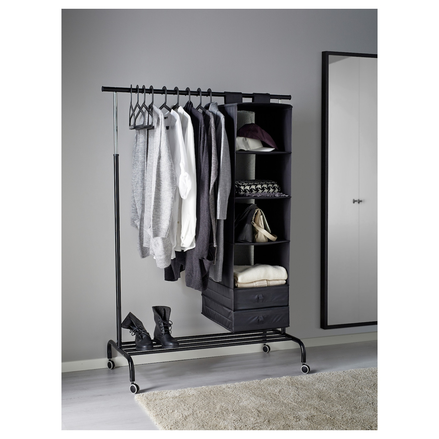 Rigga clothes rack black ikea for Ikea coat rack stand