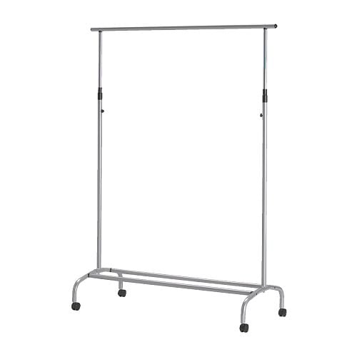 RIGGA Clothes rack silver-colour Width: 118 cm Min. height: 126 cm Max. height: 160 cm Max. load: 30 kg