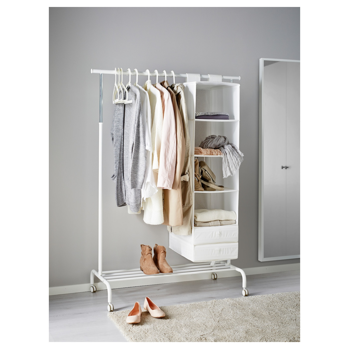 Ikea Rigga Clothes Rack There Is Room For Bo Or 4 Pairs Of Shoes On The