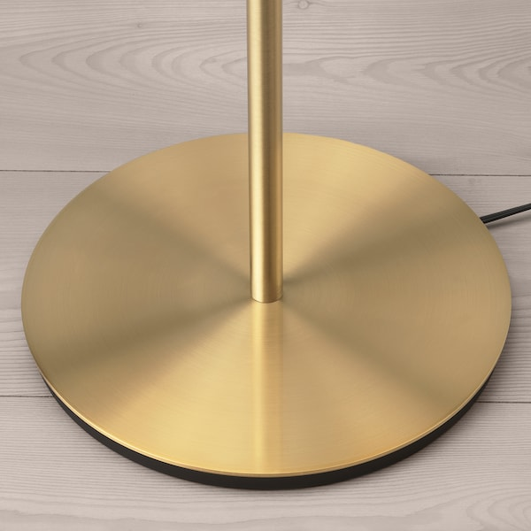 RINGSTA / SKAFTET Floor lamp, white/brass