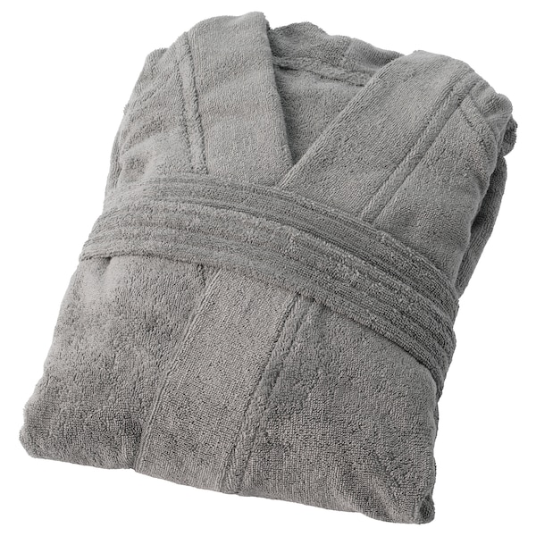 ROCKÅN Bath robe, grey, S/M