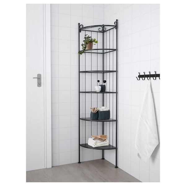 RÖNNSKÄR Corner shelf unit, black