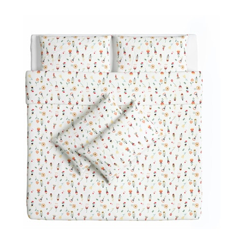 IKEA ROSENFIBBLA quilt cover and 4 pillowcases Cotton, feels soft and nice against your skin.