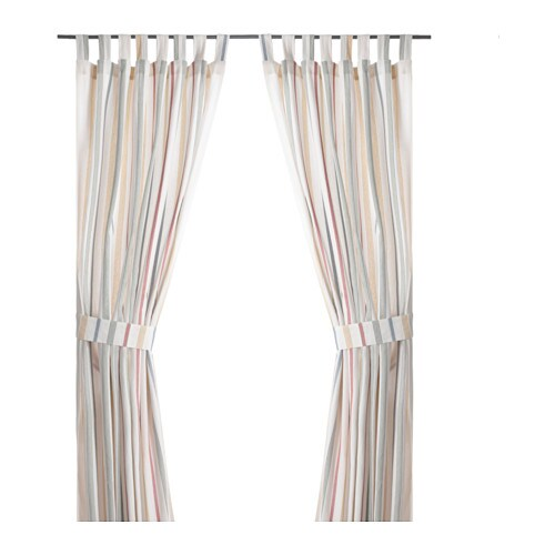 IKEA ROSENKVITTEN curtains with tie-backs, 1 pair