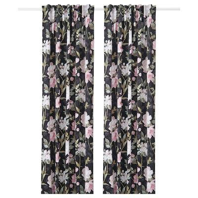 ROSENMOTT Block-out curtains, 1 pair, black/floral patterned, 145x250 cm