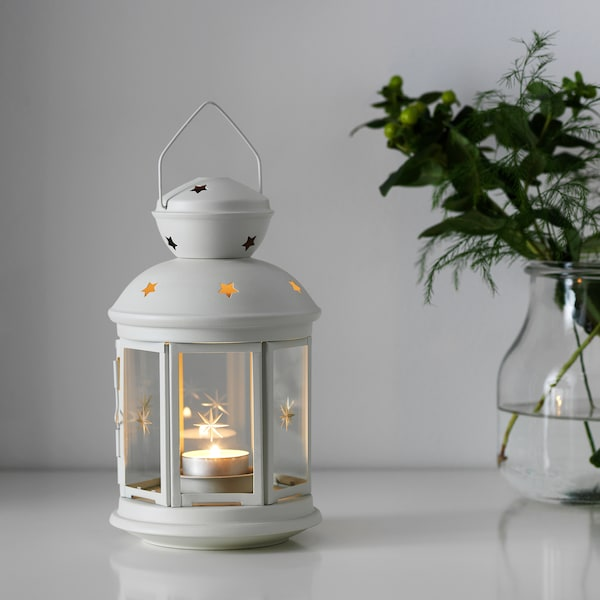 ROTERA lantern for tealight in/outdoor white 21 cm