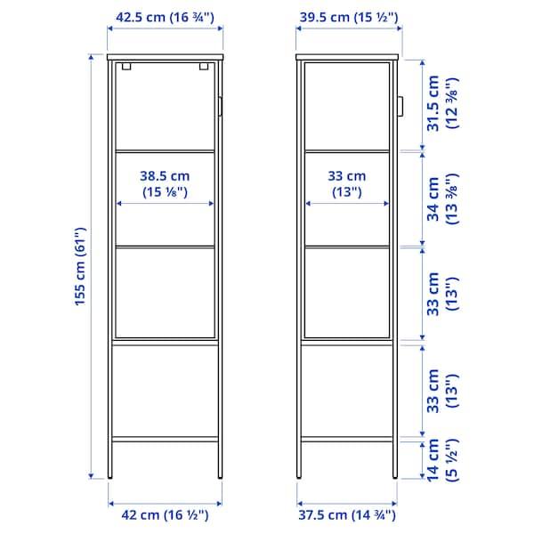 RUDSTA Glass-door cabinet, anthracite, 42x37x155 cm