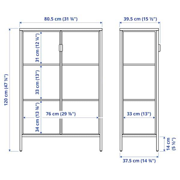 RUDSTA Glass-door cabinet, anthracite, 80x37x120 cm