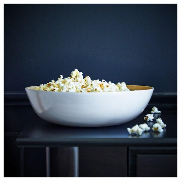 RUNDLIG serving bowl bamboo/white 9 cm 30 cm