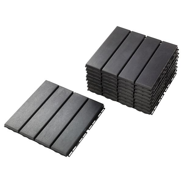 RUNNEN floor decking, outdoor dark grey 0.81 m² 30 cm 30 cm 2 cm 9 pack