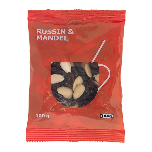 RUSSIN & MANDEL Raisin & almond mix IKEA A mix of raisins and almonds, traditionally served around Christmas in a glass with hot mulled wine.