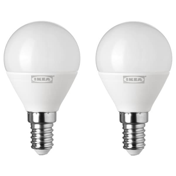 RYET LED bulb E14 400 lumen globe opal white 400 lm 2 pack