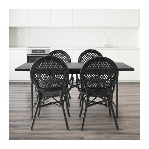 Ryggestad karpalund lmsta table and 4 chairs black rattan black 170 cm ikea - Wicker dining chairs ikea ...