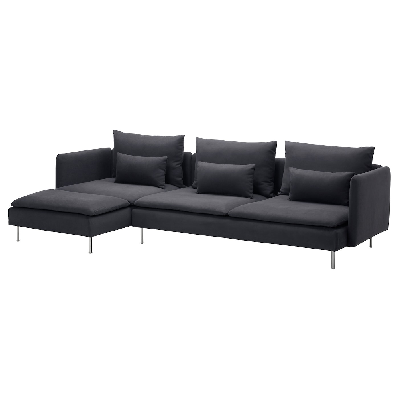 S derhamn 4 seat sofa with chaise longue samsta dark grey for 4 seat sectional sofa chaise