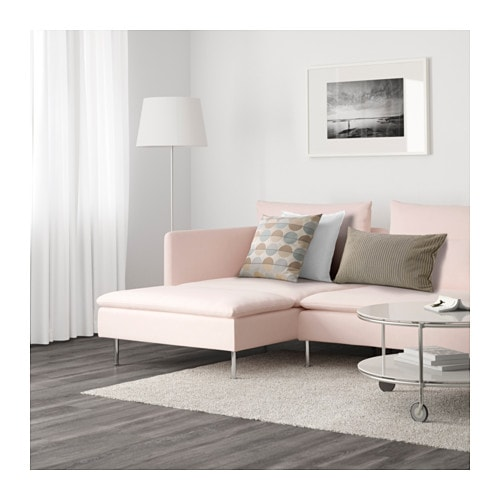 S–DERHAMN 4 seat sofa With chaise longue samsta light pink IKEA
