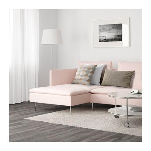 S–DERHAMN 4 seat sofa With chaise longue samsta light pink IKEA