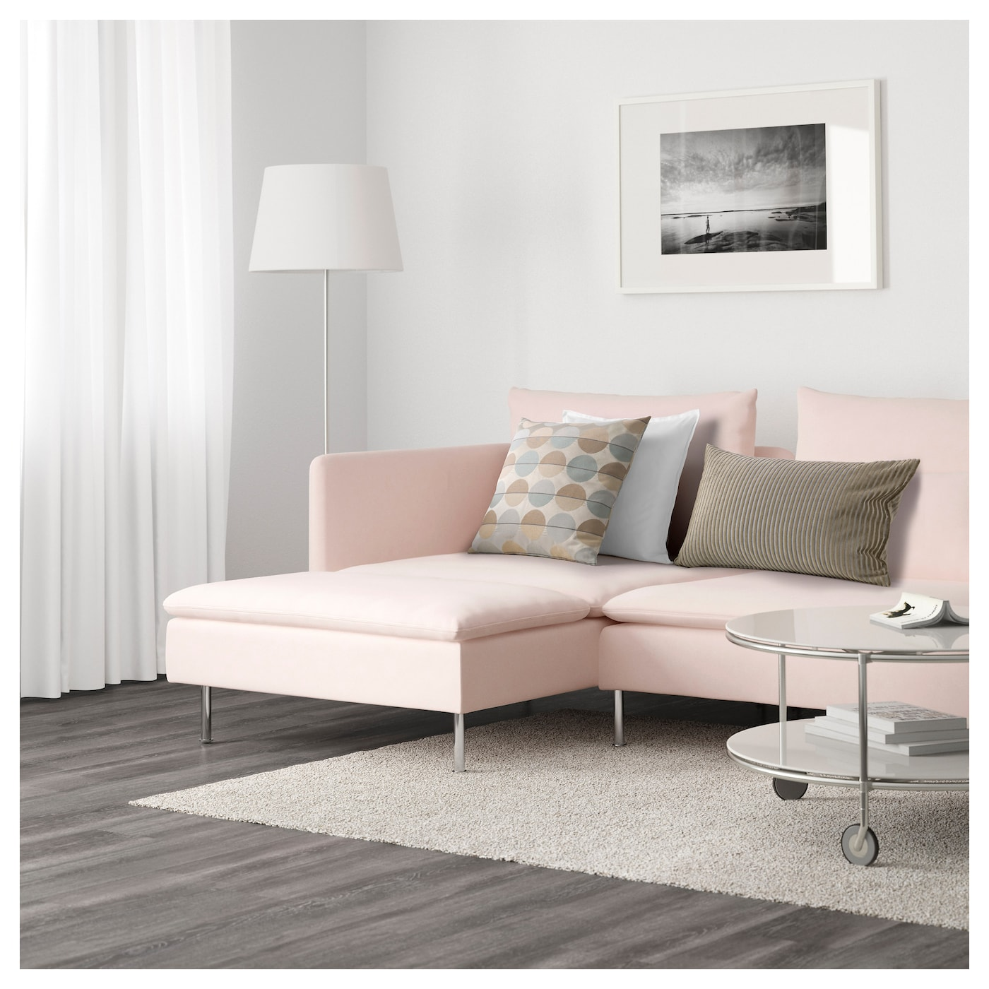 s derhamn 4 seat sofa with chaise longue samsta light pink. Black Bedroom Furniture Sets. Home Design Ideas