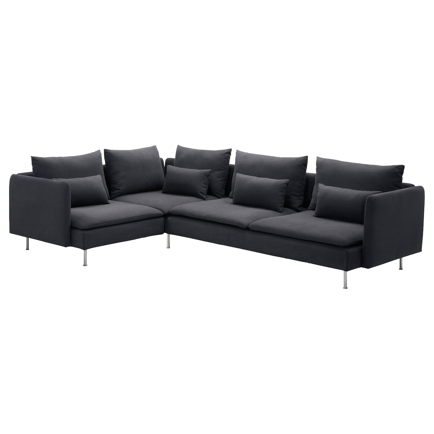 S derhamn corner sofa 4 seat samsta dark grey 291x198 cm for Sofa en l liquidation