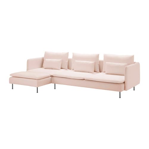 IKEA SÖDERHAMN three-seat sofa and chaise longue Hardwearing microfibre which is soft and smooth.