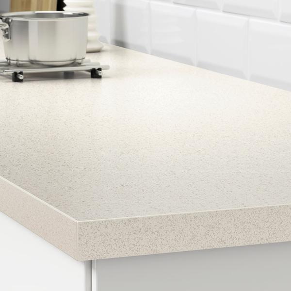 SÄLJAN Custom made worktop, white stone effect/laminate, 30-45x3.8 cm