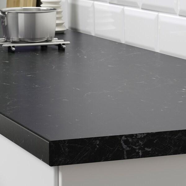 SÄLJAN Worktop, black marble effect/laminate, 186x3.8 cm
