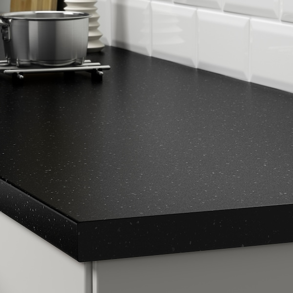 SÄLJAN worktop black mineral effect/laminate 186 cm 63.5 cm 3.8 cm
