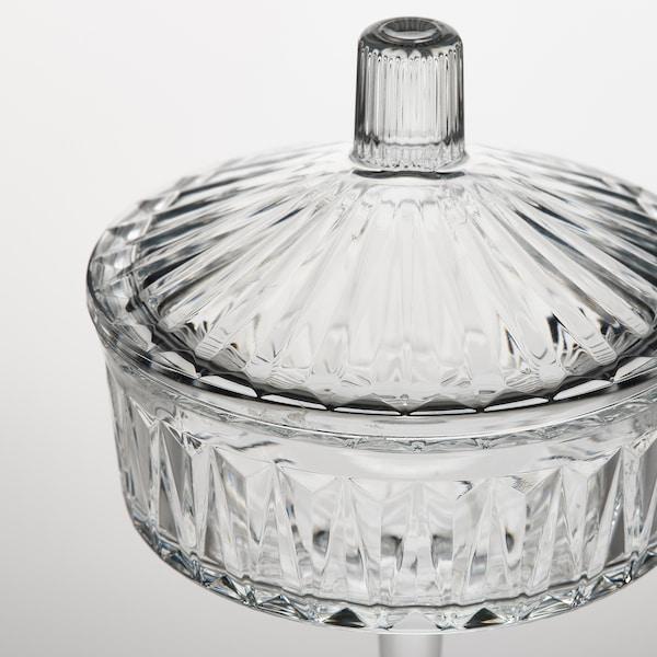 SÄLLSKAPLIG Bowl with lid, clear glass/patterned, 10 cm