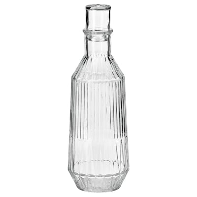 SÄLLSKAPLIG Carafe with stopper, clear glass/patterned, 1 l