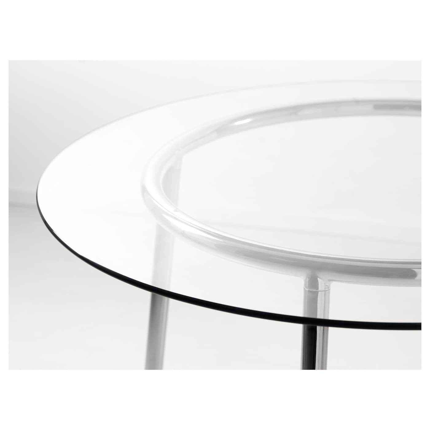 Salmi table glass chrome plated 105 cm ikea - Tavolo rotondo vetro ikea ...