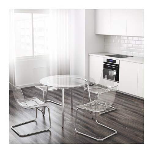 Salmi table glass chrome plated 105 cm ikea - Round glass dining table ikea ...
