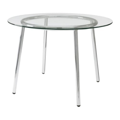 Salmi table glass chrome plated 105 cm ikea for Base de table ikea