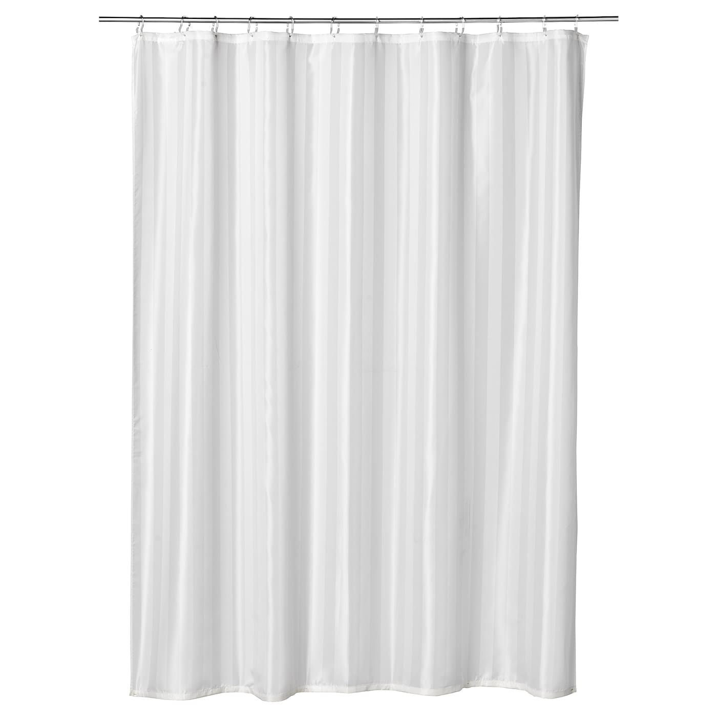 IKEA SALTGRUND shower curtain Densely-woven polyester fabric with water-repellent coating.