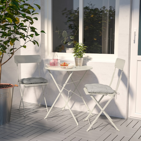 SALTHOLMEN Table+2 folding chairs, outdoor, beige